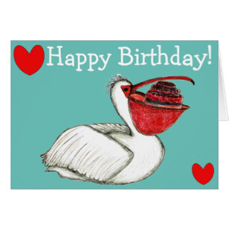 Pelican with birthday cake card