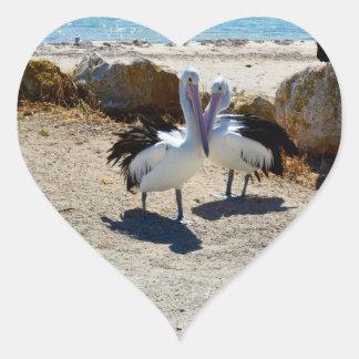 Pelicans_In_Love,_Heart_Shaped_Sticker. Heart Sticker