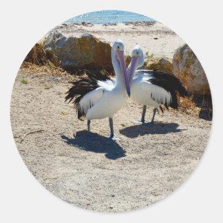 Pelicans_In_Love,_Large_Round_Shaped_Sticker. Round Sticker