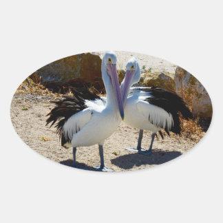 Pelicans_In_Love,_Oval_Shaped_Sticker. Oval Sticker