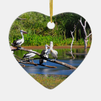 Pelicans in wetlands, Outback Australia Ceramic Ornament