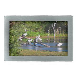Pelicans in wetlands, Outback Australia Rectangular Belt Buckle