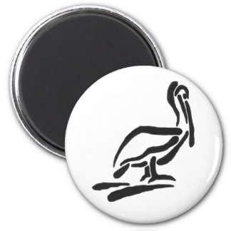 Pellican Bird Abstract Outline 6 Cm Round Magnet