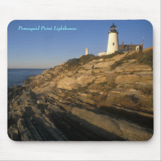 Pemaquid Point lighthouse and cliffs Mouse Pad