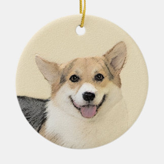 Pembroke Welsh Corgi 2 Painting - Original Dog Art Ceramic Ornament