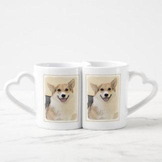 Pembroke Welsh Corgi 2 Painting - Original Dog Art Coffee Mug Set