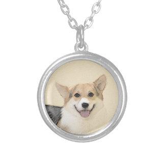 Pembroke Welsh Corgi 2 Painting - Original Dog Art Silver Plated Necklace