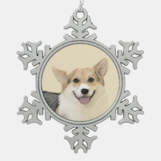 Pembroke Welsh Corgi 2 Painting - Original Dog Art Snowflake Pewter Christmas Ornament