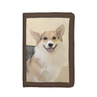 Pembroke Welsh Corgi 2 Painting - Original Dog Art Tri-fold Wallet