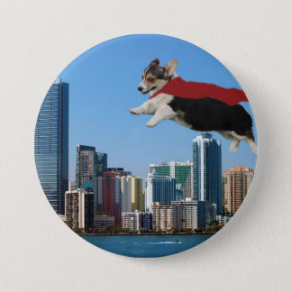 pembroke welsh corgi 7.5 cm round badge
