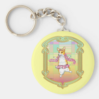 Pembroke Welsh Corgi Ballerina Basic Round Button Key Ring