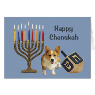 Pembroke Welsh Corgi Chanukah Card Menorah Dreidel
