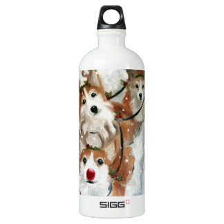 pembroke welsh Corgi Christmas Reindeer Water Bottle