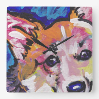 Pembroke Welsh Corgi Colorful Pop Art Square Wall Clock