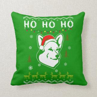 Pembroke Welsh Corgi Dog Ugly Christmas Ho Ho Ho Cushion