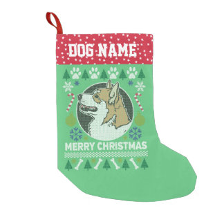 Pembroke Welsh Corgi Dog Ugly Christmas Sweater Small Christmas Stocking