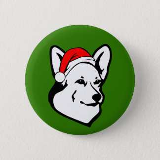 Pembroke welsh Corgi Dog with Christmas Santa Hat 6 Cm Round Badge