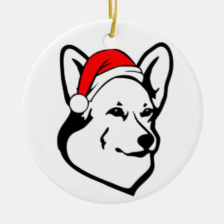 Pembroke welsh Corgi Dog with Christmas Santa Hat Round Ceramic Decoration