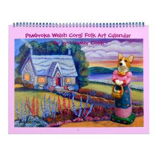 Pembroke Welsh Corgi Folk Art Calendar