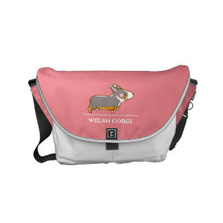 pembroke welsh corgi hand drawing, black & tongue commuter bags