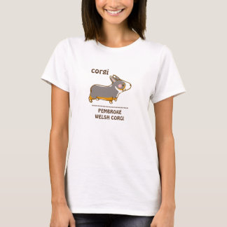 pembroke welsh corgi hand drawing, black & tongue T-Shirt