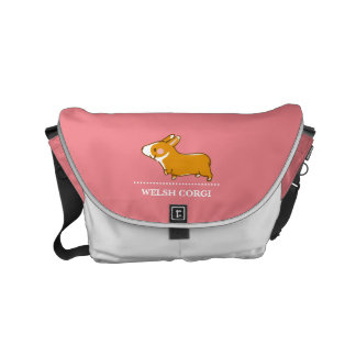 pembroke welsh corgi hand drawing, lead-lead and courier bag