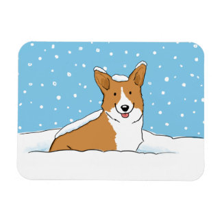 Pembroke Welsh Corgi Happy Snow Dog Magnet