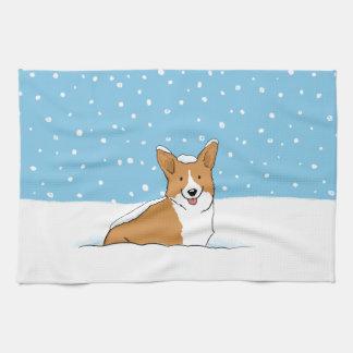 Pembroke Welsh Corgi - Holiday Snow Dog Tea Towel