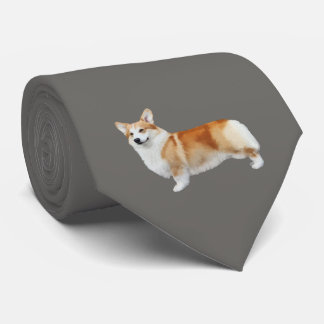 Pembroke Welsh Corgi Neck Tie - Dark  Grey
