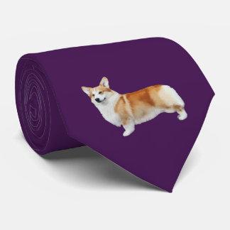 Pembroke Welsh Corgi Neck Tie - Eggplant Purple