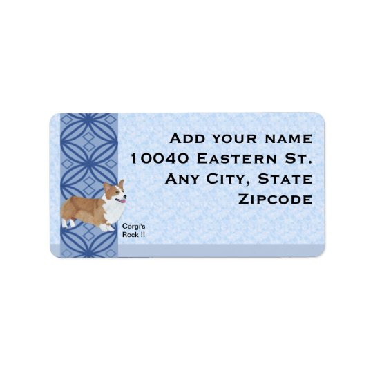 Pembroke Welsh Corgi on blue print Address Label