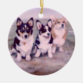 PEMBROKE WELSH CORGI-ORNAMENT CERAMIC ORNAMENT
