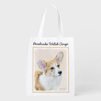 Pembroke Welsh Corgi Painting - Original Dog Art Reusable Grocery Bag