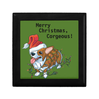 Pembroke Welsh Corgi Puppy Christmas Xmas Lights Gift Box