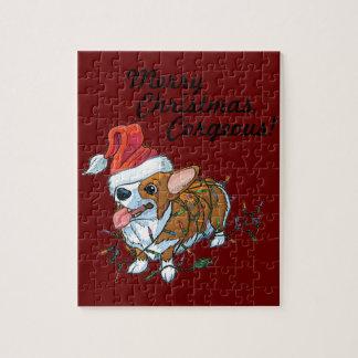 Pembroke Welsh Corgi Puppy Christmas Xmas Lights Jigsaw Puzzle