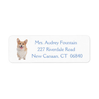 Pembroke Welsh Corgi Puppy Dog Return Address Label