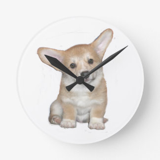 Pembroke Welsh Corgi Puppy Round Clock