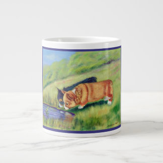 Pembroke Welsh Corgi Pups Meeting Mr. Frog Large Coffee Mug