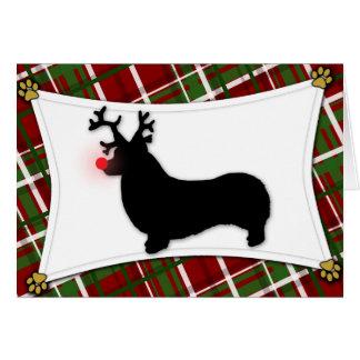 Pembroke Welsh Corgi Reindeer Christmas Card