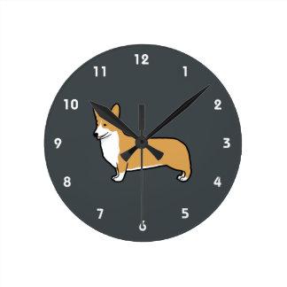 Pembroke Welsh Corgi Round Clock