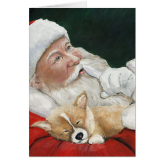 Pembroke Welsh Corgi & Santa Greeting Card