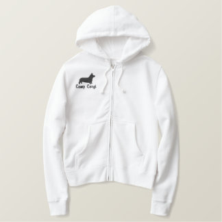 Pembroke Welsh Corgi Silhouette with Optional Text Embroidered Hooded Sweatshirt