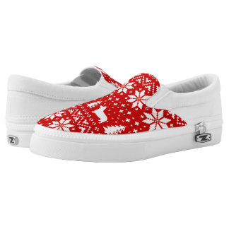 Pembroke Welsh Corgi Silhouettes Christmas Pattern Printed Shoes