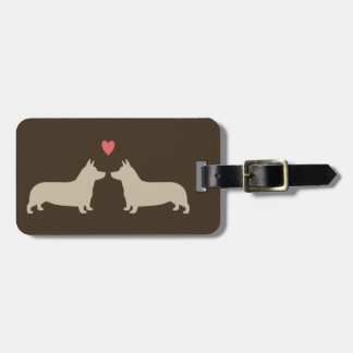 Pembroke Welsh Corgi Silhouettes with Heart Luggage Tag