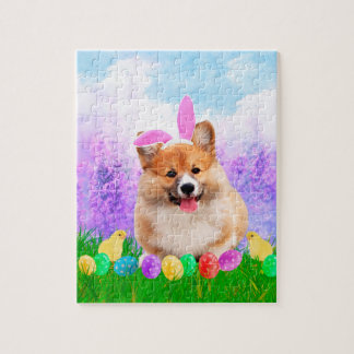 Pembroke Welsh Corgi with Easter Eggs Bunny Chick Jigsaw Puzzle
