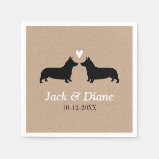 Pembroke Welsh Corgis Wedding Couple with Text Disposable Serviettes