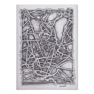 "Pen and Ink Drawing : ""String"" Poster"