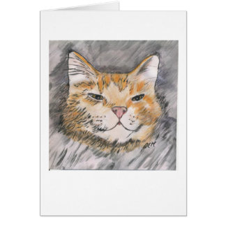 Pen and Ink with Watercolor Orange Cat - Notecards Card