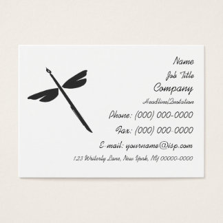 Pen and Wings Abstract Dragonfly Writer Logo Business Card
