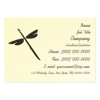 Pen and Wings Abstract Dragonfly Writer Logo Business Card Templates